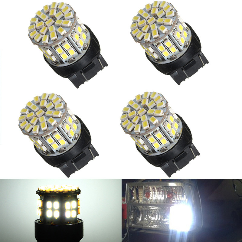 T20 7443 W21/5W 1206 50SMD Auto Car LED Brake Stop Rear Light Bulb Lamp Backup Reserve Lights Pure Warm White DC 12V 3156 12w 600lm osram 4 smd 7060 led white light car bulb dc 12v