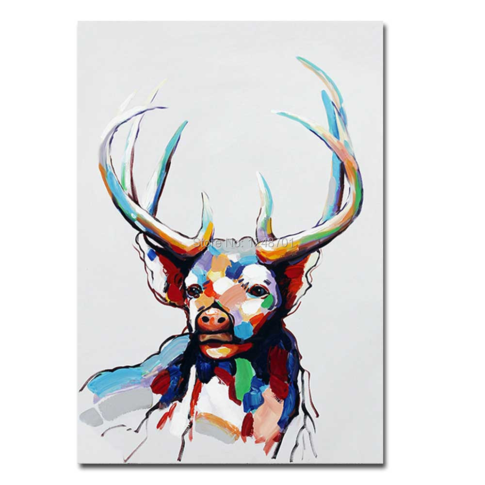 Hand Painted Abstract Colorful Animals Antelope Oil Painting On ...