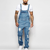Denim Men Overalls Jumpsuits Streetwear Female Casual Jeans Washed Ripped Hole Pocket Loose Straight Pants Trousers Modis H40