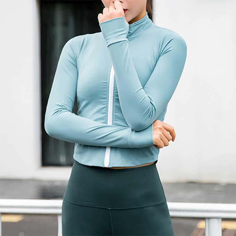 Chaqueta para correr para mujer de manga larga con cremallera, camiseta de Yoga, entrenamiento superior, ropa deportiva, abrigos deportivos, entrenamiento, secado rápido, Nylon, Spandex