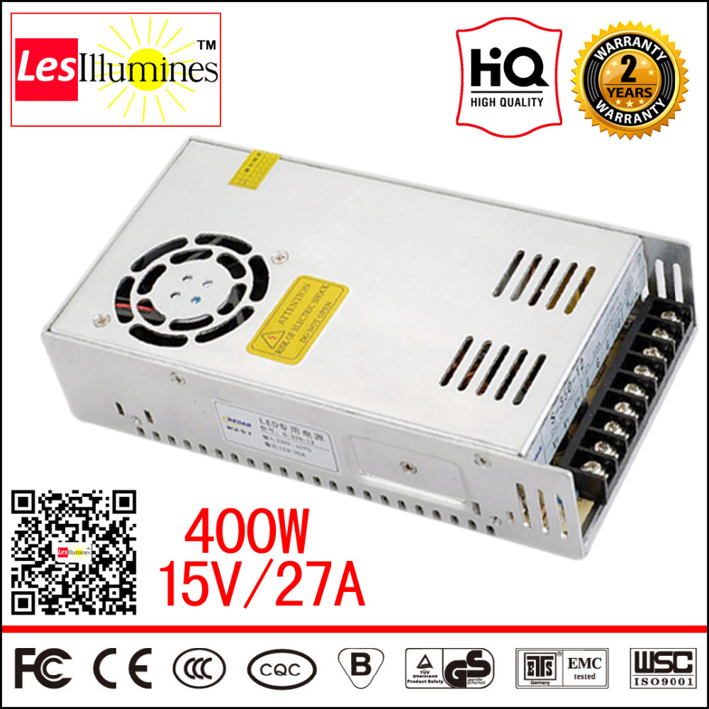 S-400-15 LED Driver Meanwell 15V DC Supply Style Transformer CE AC DC 110V 220V 230V to DC15V 27A 400W Switching Power Supply s 350 15 hot sale 110 220 v ac dc 15v psu led driver transformer 350w fonte supply 24a 360w switch regulated power supply 15v