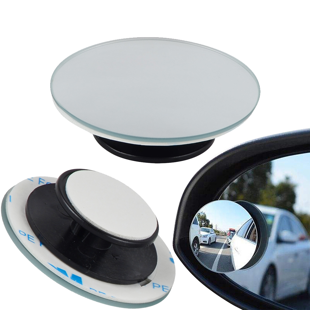 Convex Mirror Rearview Round Small Wide-Angle Side-Blindspot 360-Degree Car 2pcs Framless title=