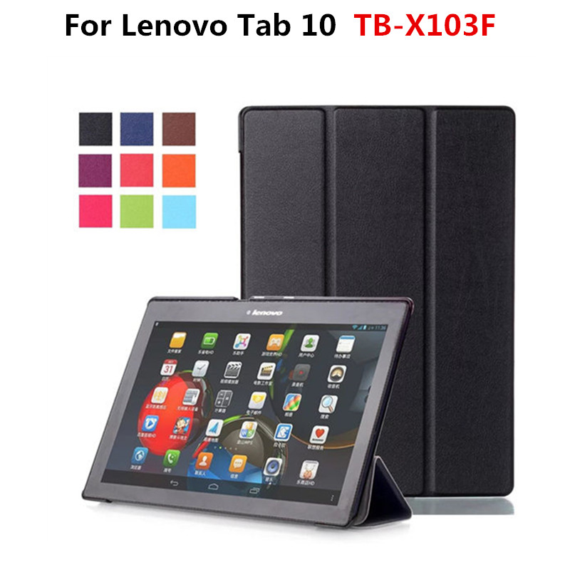 folding luxury ultra slim folio stand cover protective pu leather case for lenovo tab 10 tb. Black Bedroom Furniture Sets. Home Design Ideas
