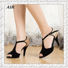 Dance Legend Professional Ballroom Latin Dance Shoes For Women , Salsa Shoes Women Black Flock T-strap Customized Thin Heels