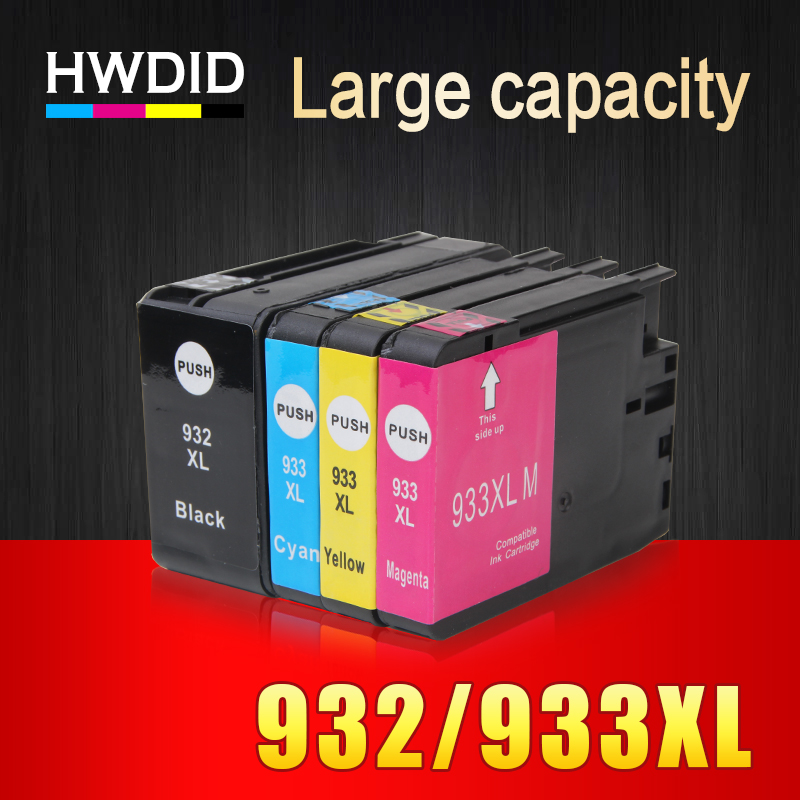 HWDID 4pcs Compatible Ink Cartridge Replacement For HP 932 XL 933 XL for Officejet 6100 6600 6700 7110 7510 7610 7612 Printers 5 pack compatible ink cartridge replacement for 932 933xl for officejet 6100 6600 6700 7110 7610 7612 h611a h711a h711n