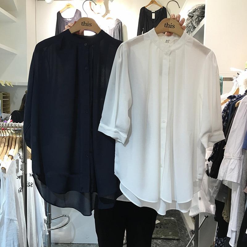 Ladies 2017 Ruffle Blouse White Female Button Down Summer Tops Blouses Femme Loose Plus Size Short Sleeve Chiffon Blouse Women