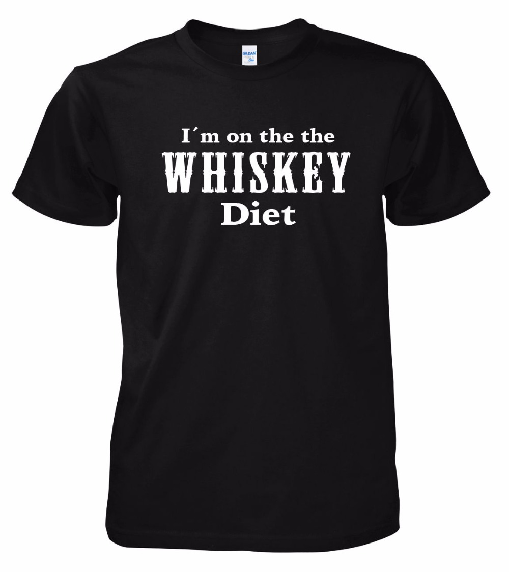 2019 Summer Brand Casual Funny Cotton Short Sleeve Men's I'm On The The Whiskey Diet High Quality Tops Tee Shirt For Man image
