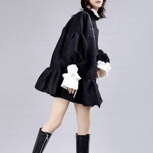 Image 3 - [EAM] נשים שמלה חדש Stand צוואר ארוך לנטרן שרוול Loose Fit הולו מתוך אישיות קפלים אופנה אביב סתיו 2020 JZ349