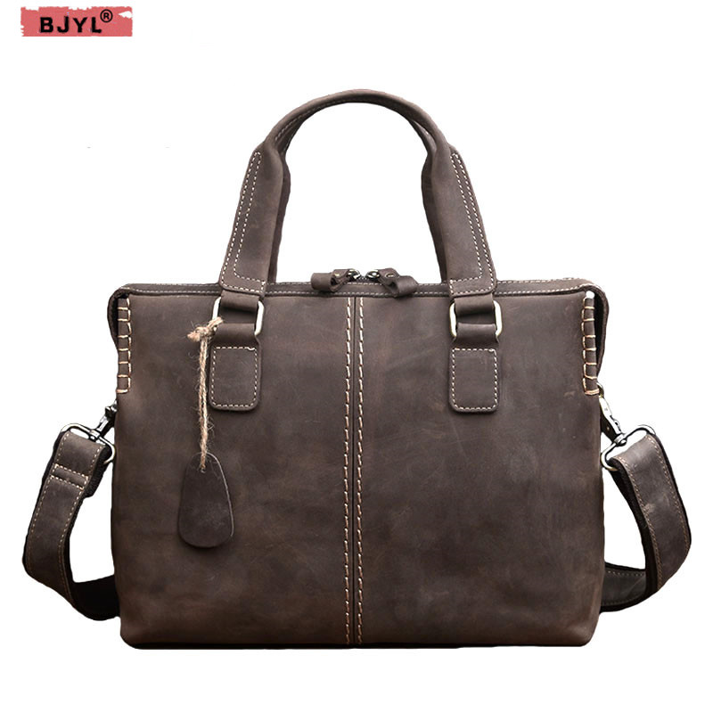 BJYL Crazy horse leather mens bag retro genuine leather briefcase mens handbag cross section casual shoulder Messenger bagsBJYL Crazy horse leather mens bag retro genuine leather briefcase mens handbag cross section casual shoulder Messenger bags