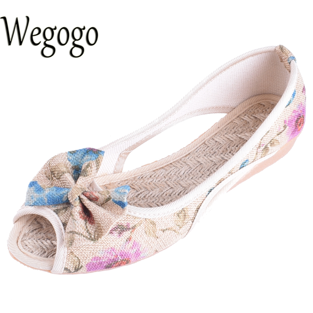 Vintage Women Flats Summer New Soft Canvas Shoes Casual Slip On Bow Dance Flat Sandals For Woman Zapatos Mujer lucyever women vintage square toe flat summer sandals flock buckle casual shoes comfort ankle strap women footwear mujer zapatos