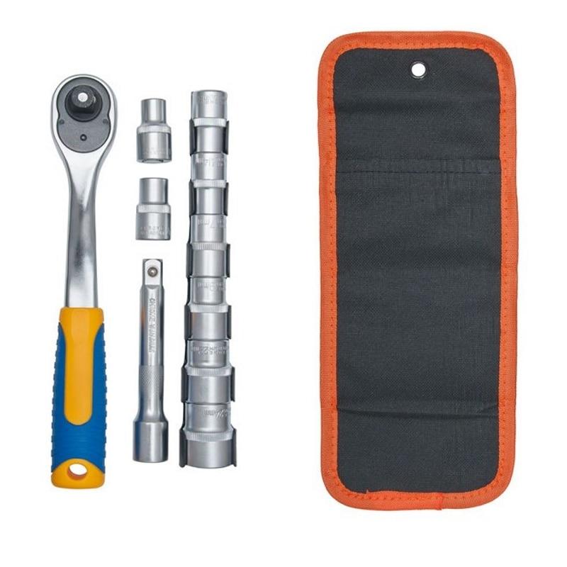 Set socket head KRAFT CT 700624 (8 socket head, ratchet wrench, extension cord) цены онлайн