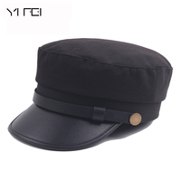 2017 New Fashion Sailor Ship Boat Captain Military Hats Peaked Cap Black Baseball Caps Flat Hat