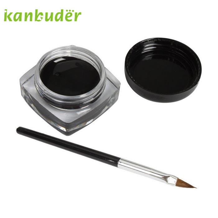 Makeup Cosmetic Black Waterproof Eye Liner KANBUDER FeatheringWomen Mini Eyeliner Gel Cream With Brush AP35