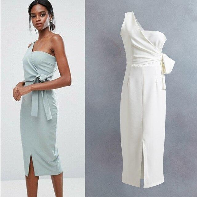8b51c3139946 Summer Dress Women Brand Sexy Dress 2018 Office Lady Beautiful White Sky  Blue Dress One-shouldered Design Fashion Formal Dress