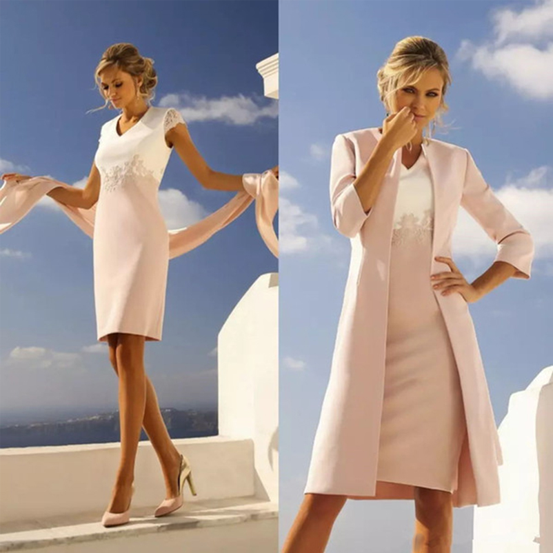 Modest Mother Of The Bride Dresses With Long Jacket Suit