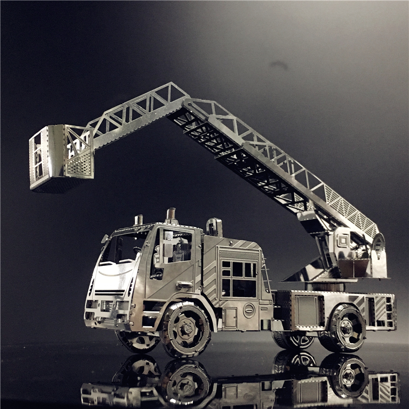MMZ MODEL Nanyuan 3D Metal Model Kit Fire Engine With Ladder DIY 3D Laser Cut Model Puzzle Toys For Adults