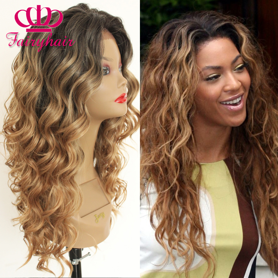 Fashion Black Blonde Ombre Wigs Long Natural Body Wave