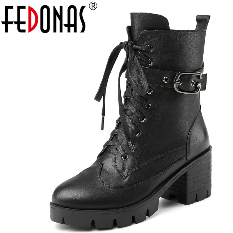 FEDONAS 1Fashion Women Ankle Boots Autumn Winter Warm High Heels Shoes Woman Round Toe Cross-tied Brand Punk Motorcycle Boots fedonas 1fashion women ankle boots autumn winter warm high heels shoes woman round toe cross tied genuine leather martin boots