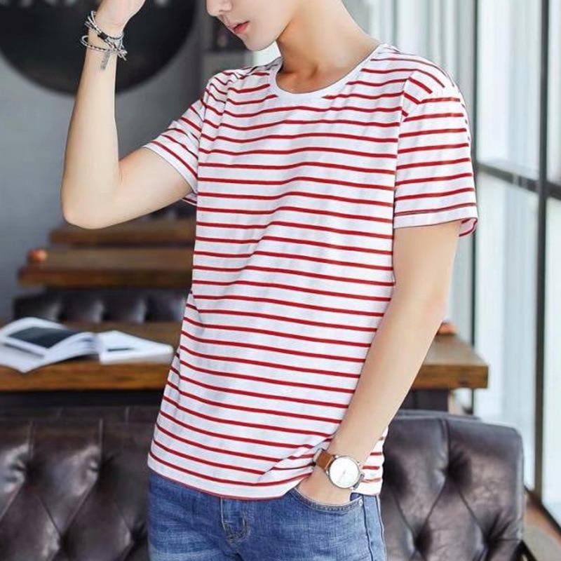 Stripe Men T Shirt Fashion Casual O-Neck Short Sleeve Slim Mens Tee Shirts