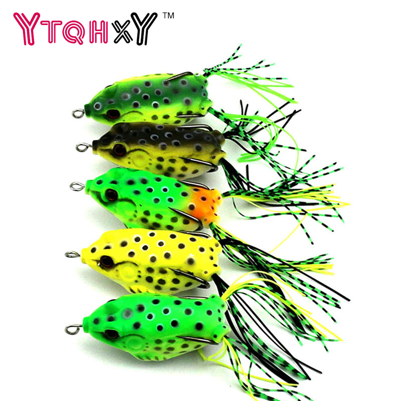 1 pc New Soft Frog Lure Bass Fishing Double Hooks Bait Crankbaits fishing Tackle Topwater Gear Accessories 5 colors YE-193 new bass floating frog topwater fish fishing lure bait hooks tackle 60mm 9g