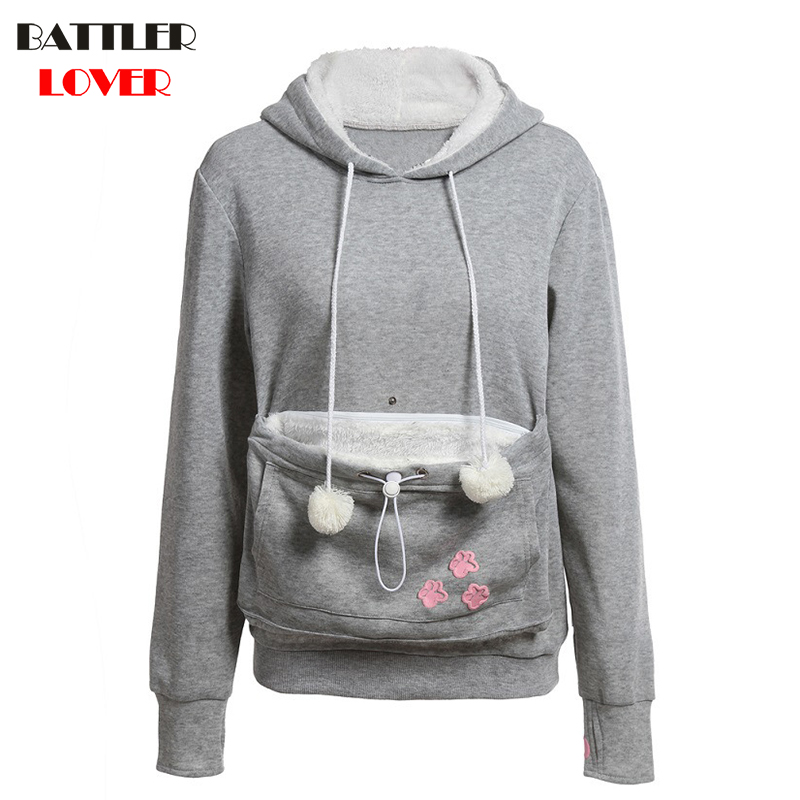 BATTLERLOVER 2017 Dog Cat Animal Carrier Mother Kangaroo Hoodie Women Hoodies Sweatshirt Woman Hooded Fleece Sweatshirts Outwear