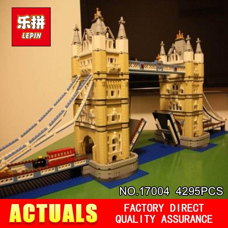 New LEPIN 17004 4295pcs Creator Expert London bridge Model Building Kits  Brick Toys Compatible 10214 Christimas Gift lepin 22001 pirate ship imperial warships model building block briks toys gift 1717pcs compatible legoed 10210