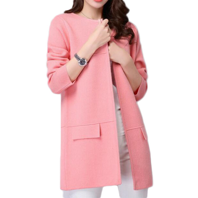 HSPL Long Cardigan Women Knitted Female Pink Sweater Autumn 2017 ...