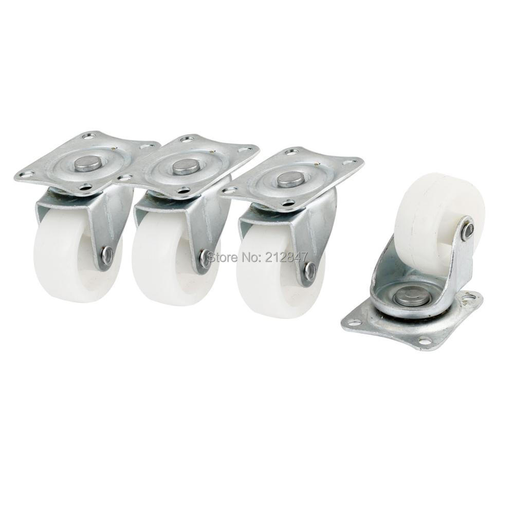 4 Pcs White Plastic Swivel Roller Top Plate Wheel Casters hot sale in stock new 4 pcs practical 1 plastic wheel rectangle top plate fixed swivel caster set