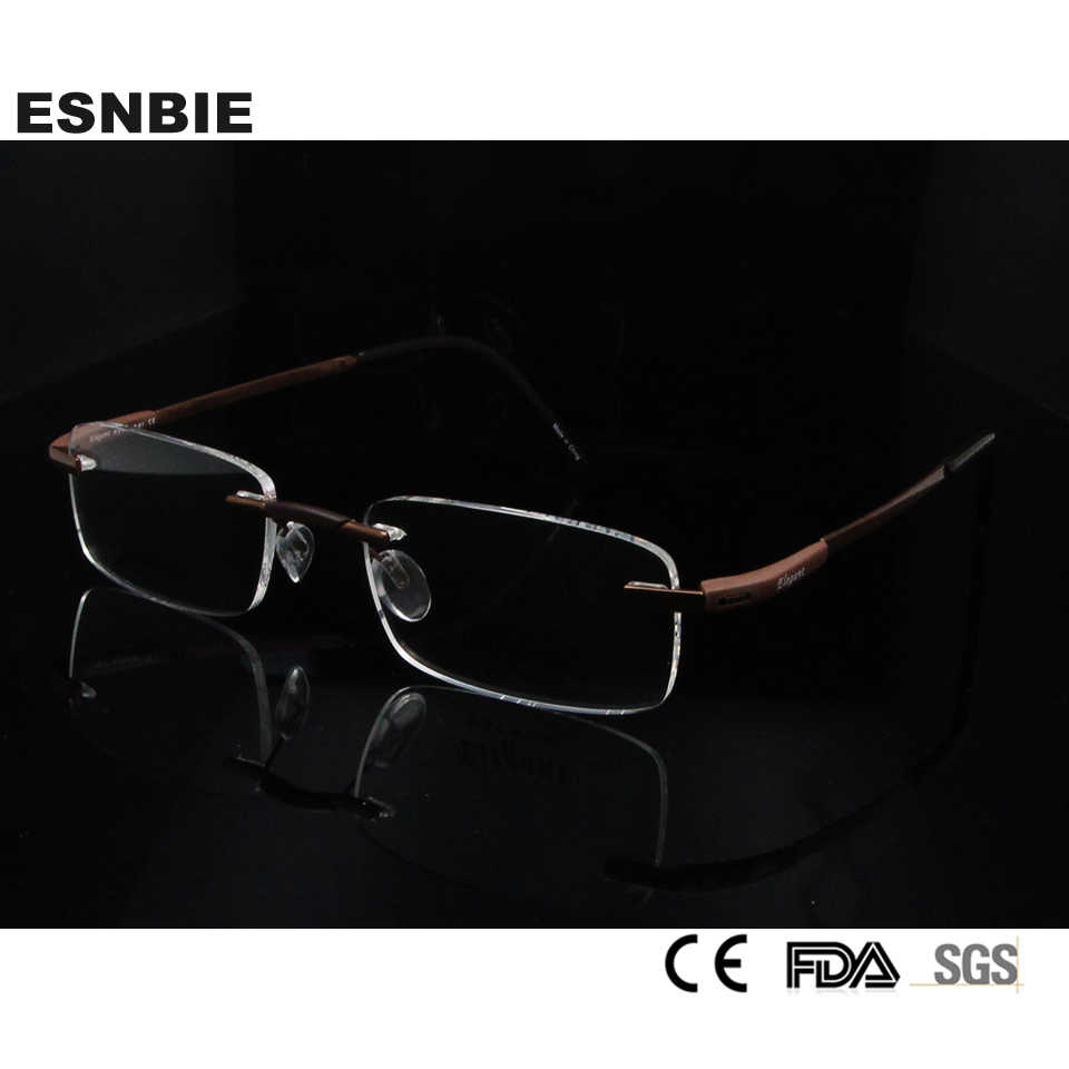 71d8b4d90a2 ESNBIE Men Rimless Glass Titanium Eyewear   Accessories Myopia Glasses New  Mens Optical Frame in Clear
