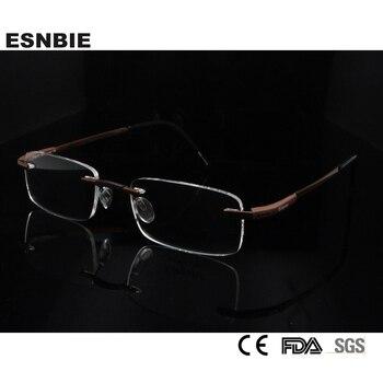 7fe7f18c97 ESNBIE hombres Rimless titanio de cristal gafas y accesorios miopía nuevo  hombre marco óptico en lente transparente