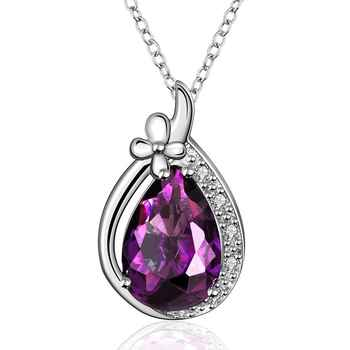 Women's 925 Silver Necklace w/ Stone Pendant Purple