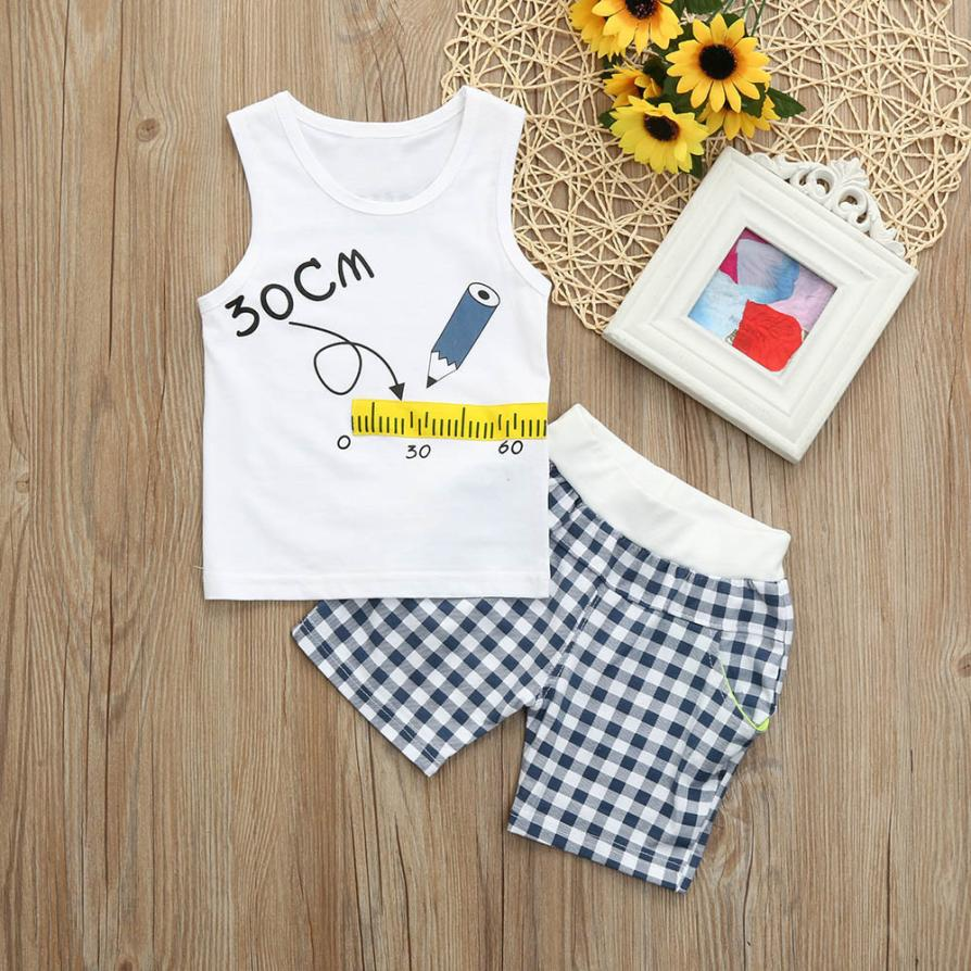2Pcs Toddler baby clothes Set cute Ruler Print summer fashion baby boy girl Sleeveless T shirt Top Vest Grid Shorts Outfits