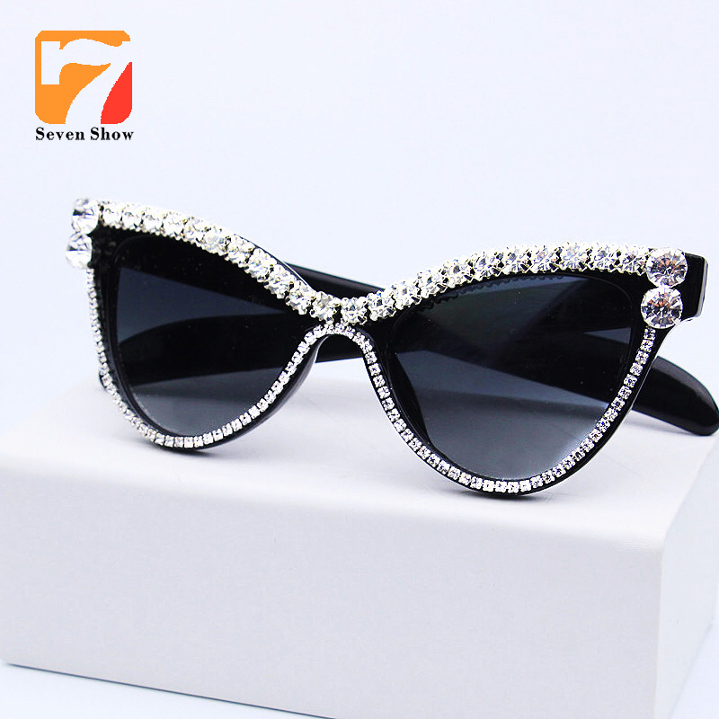 Cute <font><b>Sexy</b></font> <font><b>Women</b></font> <font><b>Cat</b></font> <font><b>Eye</b></font> <font><b>Sunglasses</b></font> Vintage <font><b>Brand</b></font> <font><b>Designer</b></font> Crystal Diamond Frame Glasses Gradient Sun Glasses For Female UV400 image