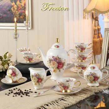 Европейский Розовый костяной китайский чайный набор, британский фарфоровый кофейный набор, керамический горшок, сливки, сахарная чаша, дом...