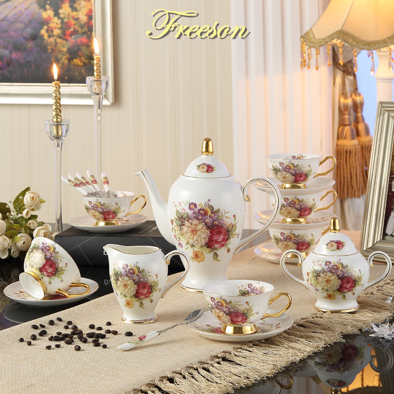 Europe Rose Bone China Tea Set British Porcelain Coffee Set Ceramic Pot Creamer Sugar Bowl Home Teapot Coffee Cup Mug Coffeeware