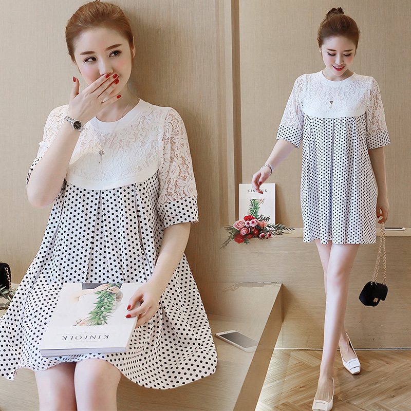 The new spring and summer will maternity baby unlined upper garment lace stitching wave point A word put maternity dress korean children s garment girl baby owl paillette sweater t shirt unlined upper garment short skirt you 2 pieces suit