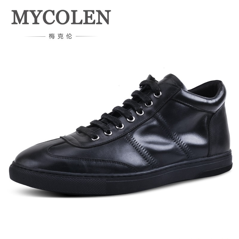 MYCOLEN Casual High-Top Men Leather Shoes Genuine Leather Men Flats Brand For Men Loafers Zapatos Hombre Sapato Masculino new fashion men luxury brand casual shoes men non slip breathable genuine leather casual shoes ankle boots zapatos hombre 3s88