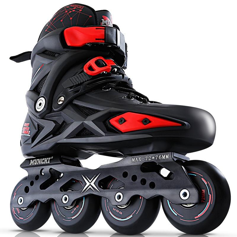 Or noir Adultes de Patin À Roues Alignées Professionnel Chaussures Patines Freestyle Extérieur Roller Chaussures Sneakers Chaussures de Sport