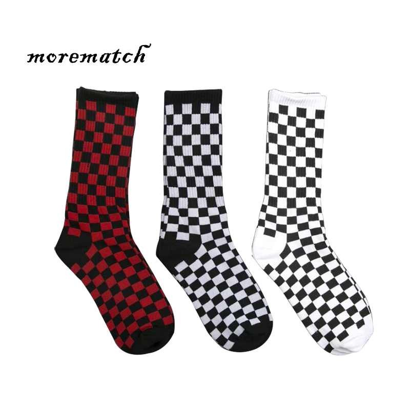 Morematch 1Pair Autumn Winter Men Sock Harajuku Plaid Cotton Socks Men Trend Street Dance Skateboard Socks 3 Colors Optional