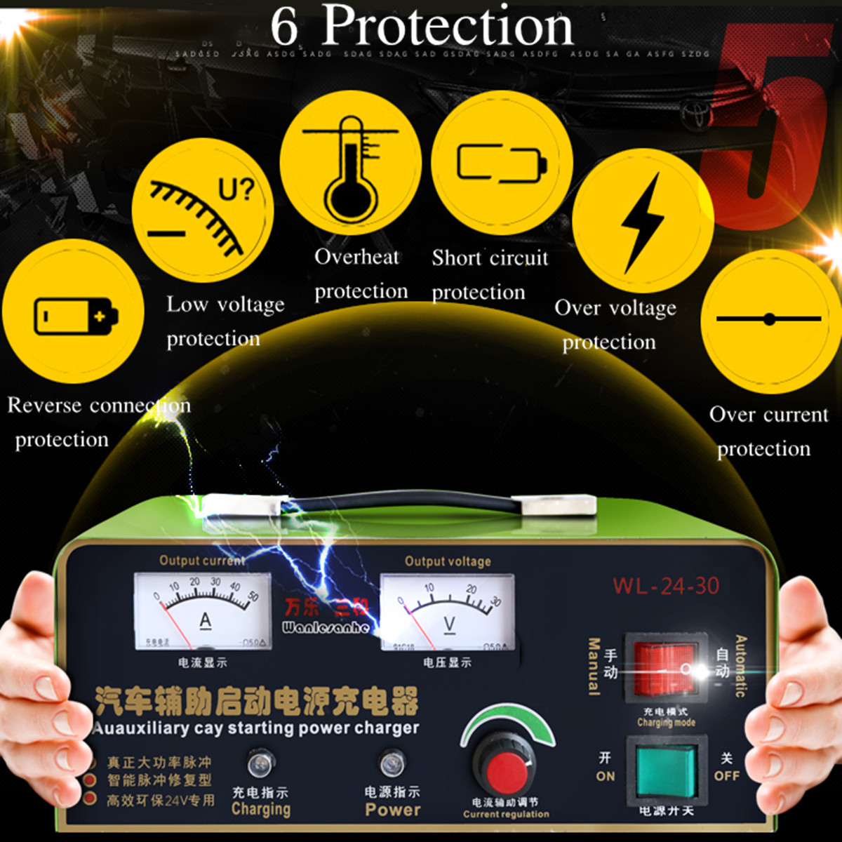 Car Battery Charger 220V 12V 50A 120W US Plug Full Automatic 3-800AH Intelligent Pulse Repair Constant Current/Voltage PWM 220v 12v car battery charger 50a 120w us plug full automatic 3 800ah intelligent pulse repair constant current voltage pwm
