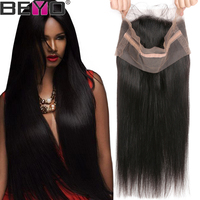 Beyo 360 Lace Frontal Closure With Baby Hair Brazilian Straight Hair Pre Plucked Lace Frontal Non Remy Human Hair Lace Closure