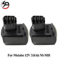 2pcs Lot For METABO 12V Replacement Battery 3000mAh NI MH Power Tool BZ 12 SP SSP
