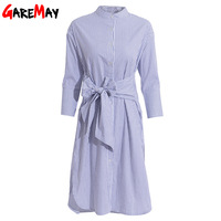 Striped Dress Women Casual Shirt Dresses Summer Lace Up Elegant Vestidos Mujer Tunics Women Midi Dresses