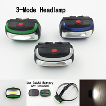 3 Colors Mini Headlight Waterproof COB LED Headlamp PVC Head Torch Light For Camping Hunting Powered By 3*AAA Battery