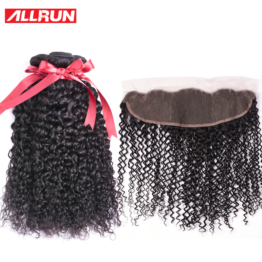Allrun 3 Pcs Kinky Curly Human Hair Bundles With 13*4 Ear To Ear Frontal Closure Brazilian Hair Weave Non Remy Free Shipping