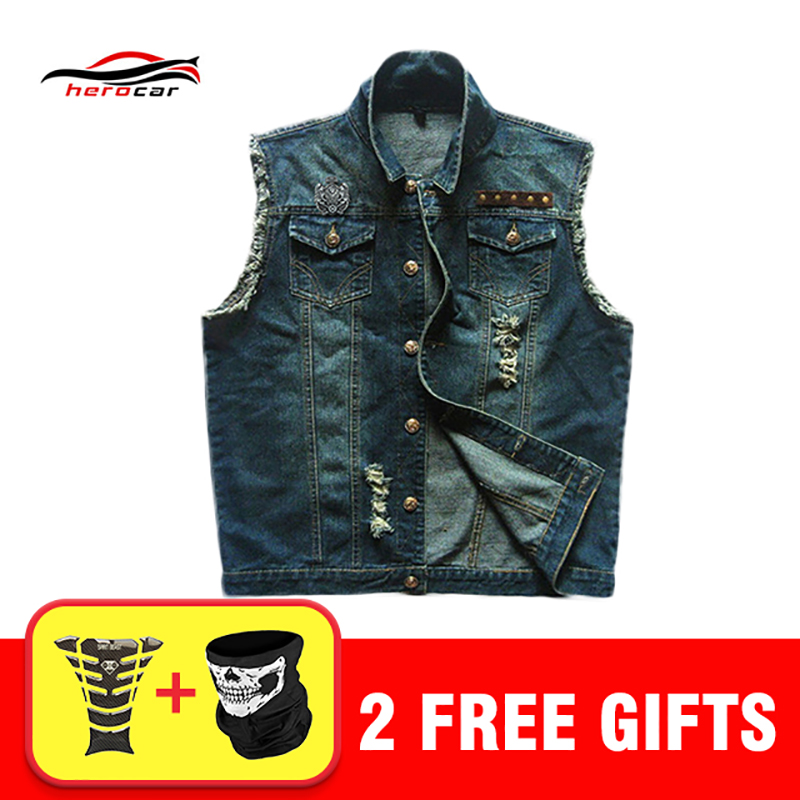 Chaqueta Moto Hombre Jacket Motorcycle Hip Hop Vest Waistcoat Patch Cowboy Punk Coat Ripped Slim Fit Male Jacket Cowboy