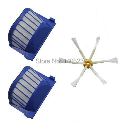 2 x Aero Vac Filter 1 x Side Brush 6-Armed for iRobot Roomba 500 600 Series 536 550 551 552 564 620 630 650 660 Vacuum Cleaner aero vac filter bristle brush flexible beater brush 3 armed side brush tool for irobot roomba 600 series 620 630 650 660