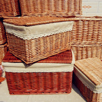 2017 Manual Wicker storage boxes rectangular wicker baskets creative baskets pastoral storage bins with cover