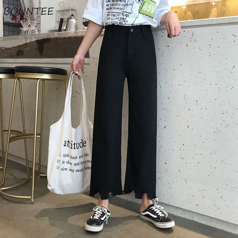 Jeans Women Tassel Button Pocket Simple High Waist Straight Spring Summer Trousers Simple All-match Womens Lady Elegant Trendy