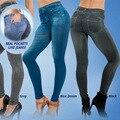 New Leggings Jeans Ladies Women's Slim High Elastic Jeggings Fake Jeans Leggings 2 Pockets Causal Fasion Leggins Trousers WL010